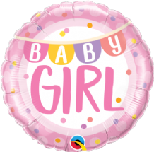 "Baby Girl Banner & Dots Foil Balloon (18"") 1pc"